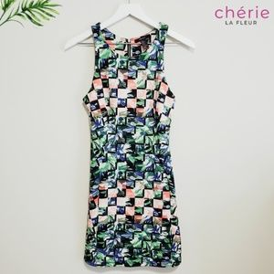 Forever 21 | Tropical Floral Checkered Mini Dress